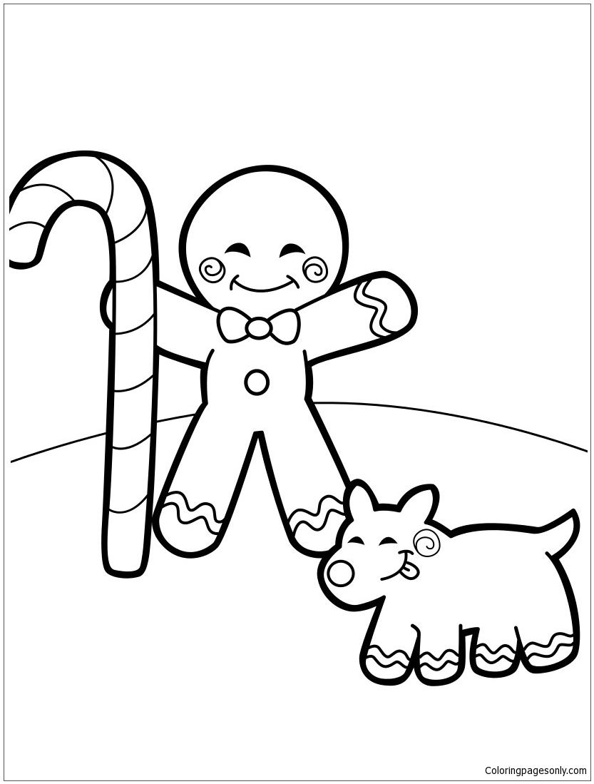 Gingerbread Man And A Cookie Dog Coloring Page Free