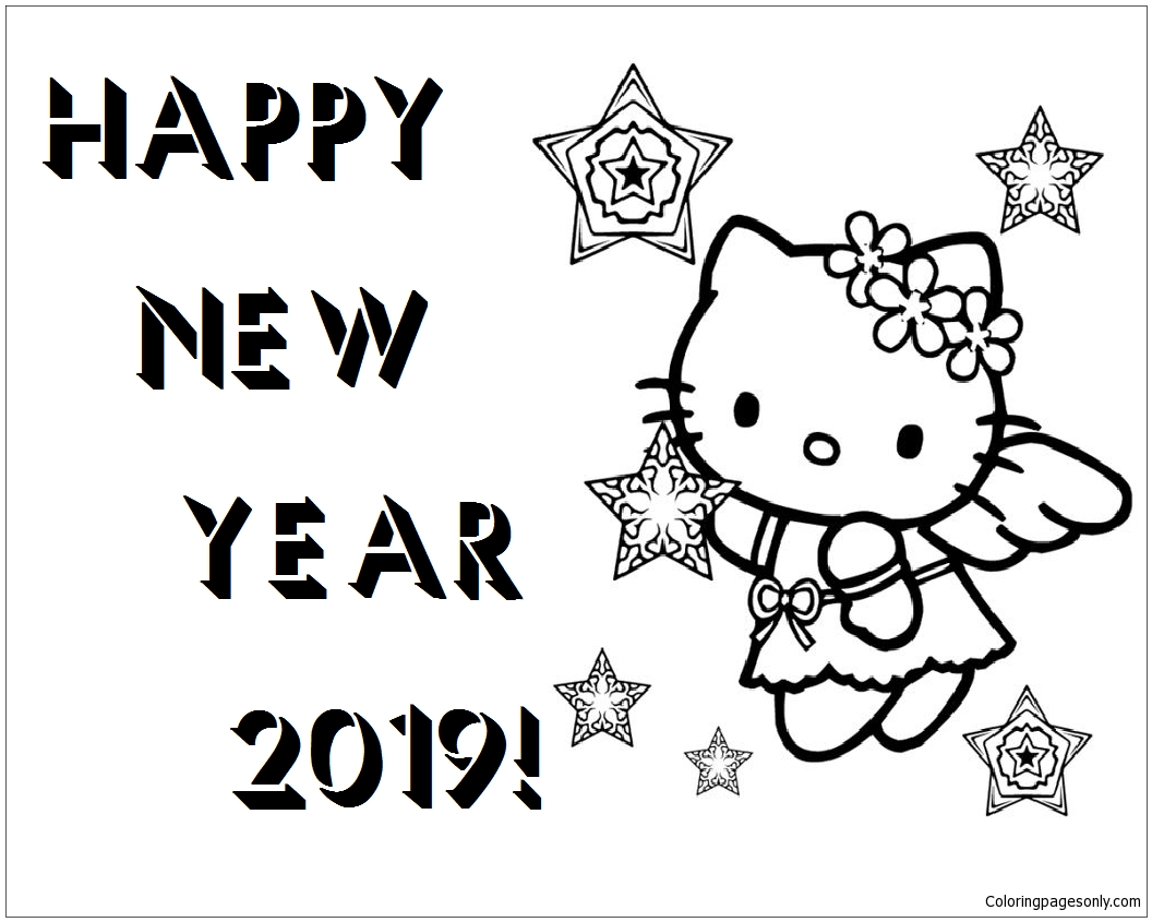 Happy New Year Hello Kitty 2019 Coloring Page Free Coloring Pages Online