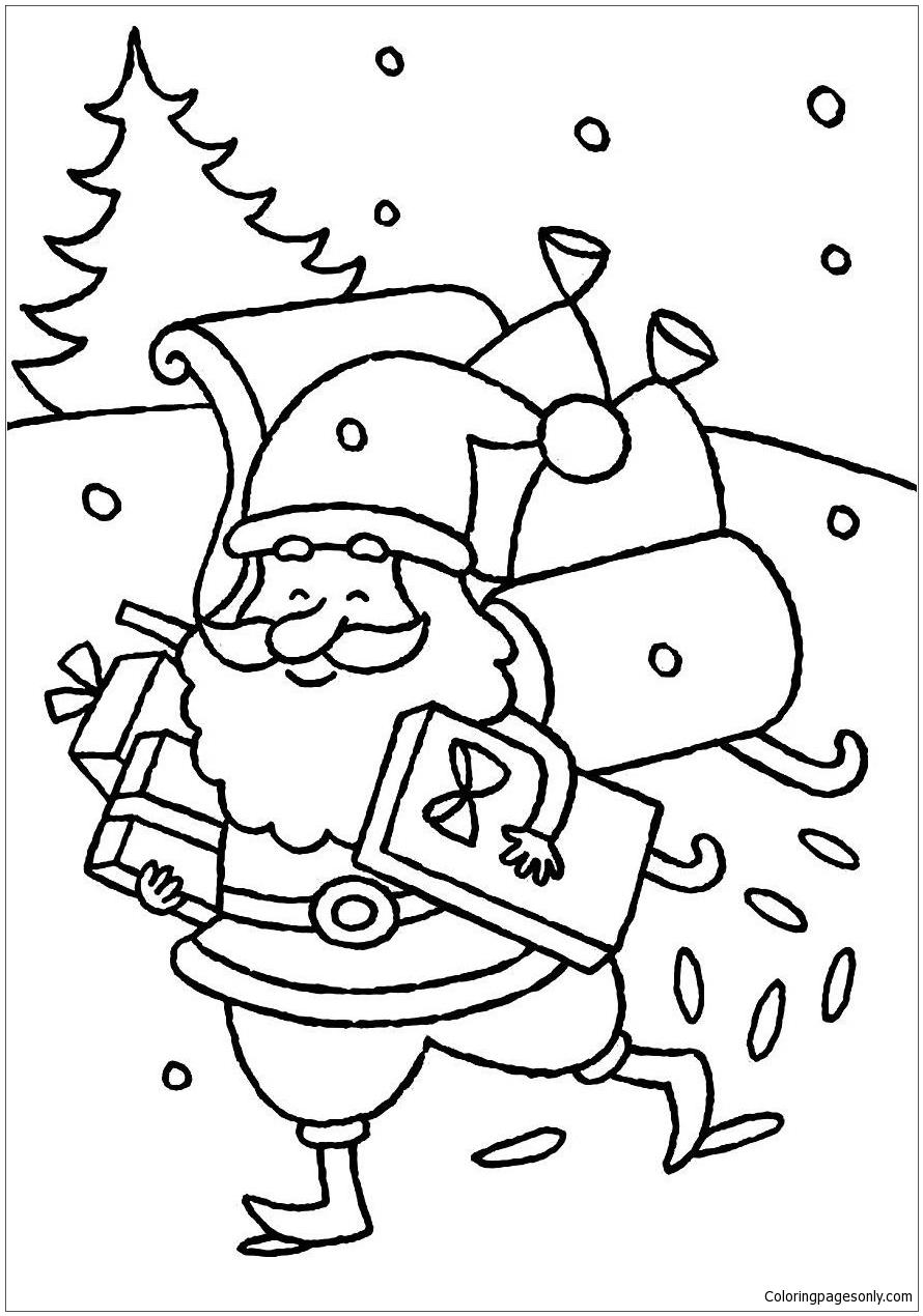 Happy Santa Claus Delivering Presents Christmas Coloring Page