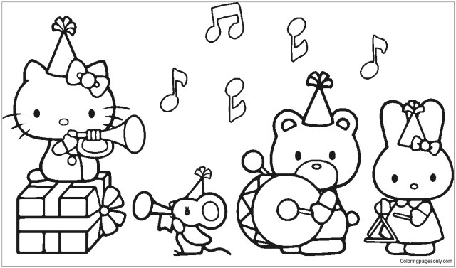 Hello Kitty With her friends in the Birthday party Coloring Pages