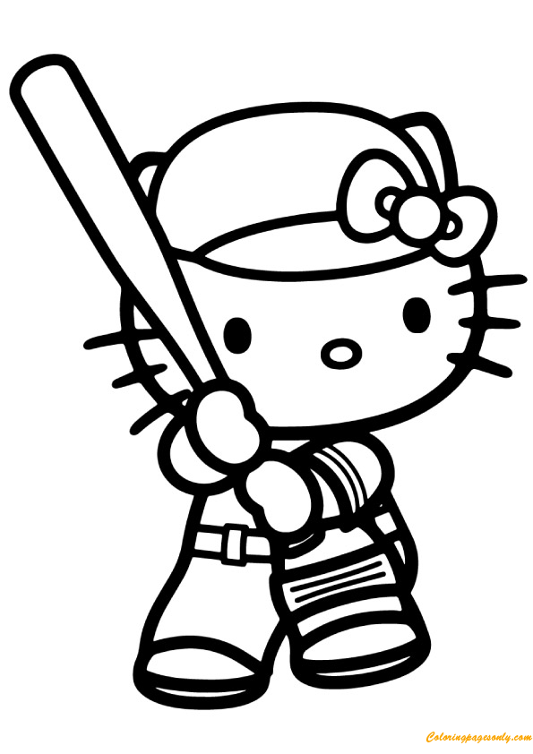 Hello kitty playing baseball game coloring page free, puppy love coloring pages