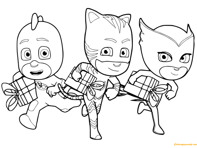 Holiday PJ Masks Coloring Pages - PJ masks Coloring Pages