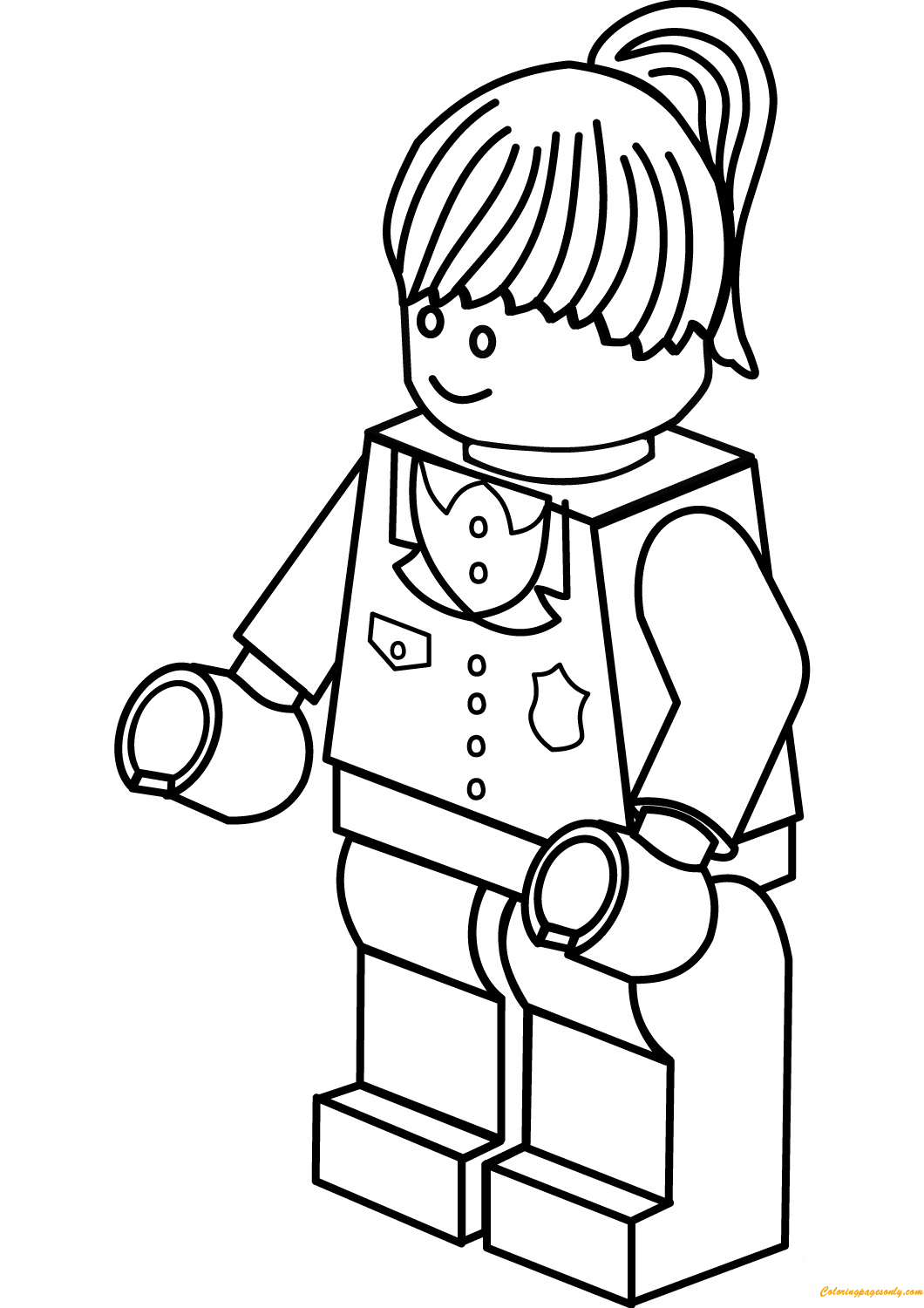 Lego City Police Woman Coloring Page
