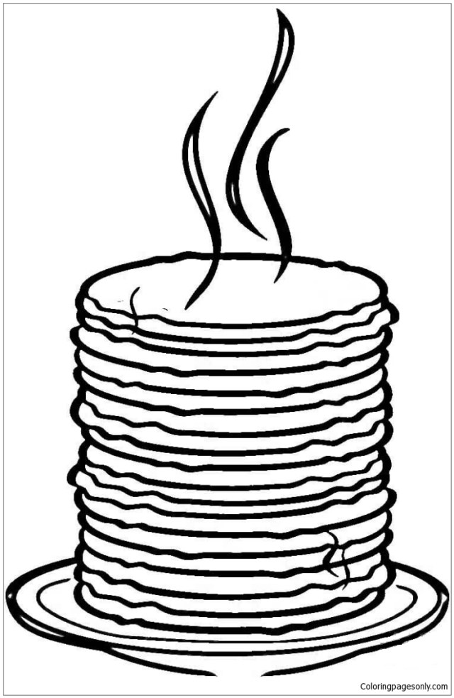 Loads of Pancakes Coloring Pages - Desserts Coloring Pages