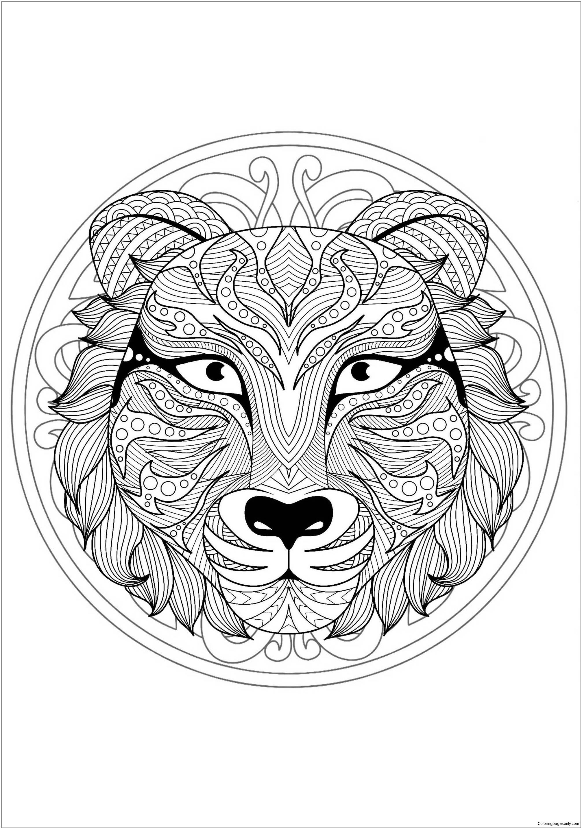 Mandala With Tiger Head 1 Coloring Page Free Coloring