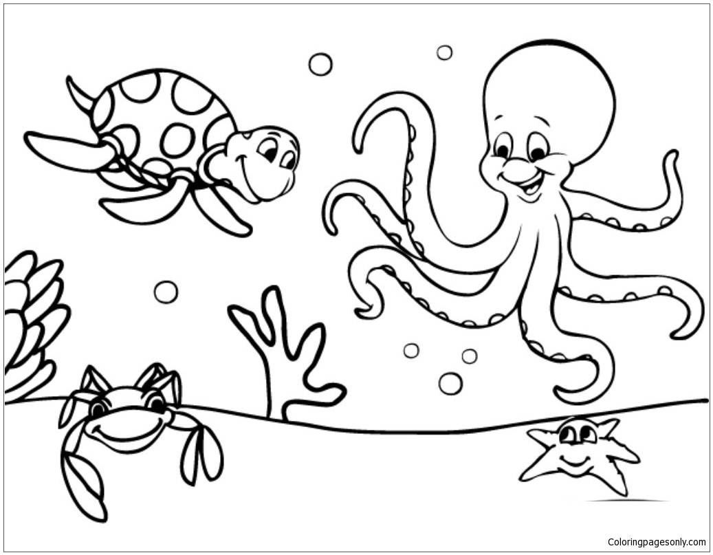 Marine Life Under The Ocean Floor Coloring Page