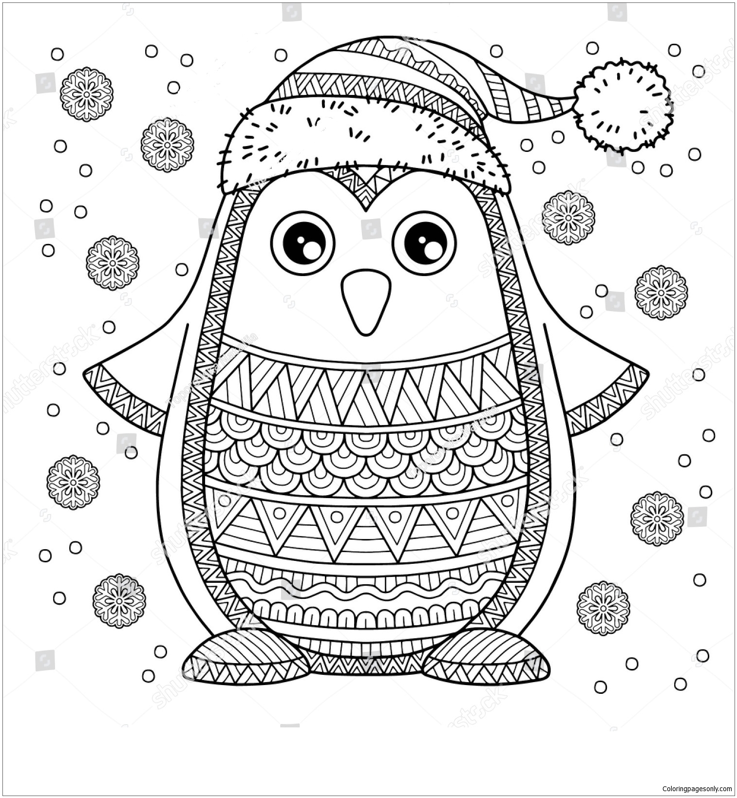 Merry Christmas Jolly Penguin Coloring Page Free