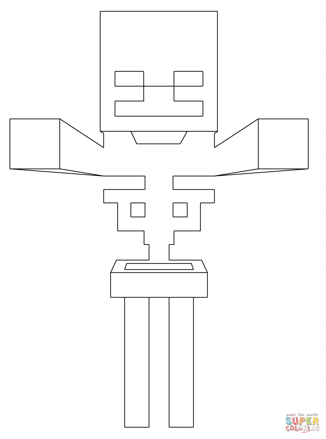 Minecraft Skeleton From Minecraft Coloring Page Free