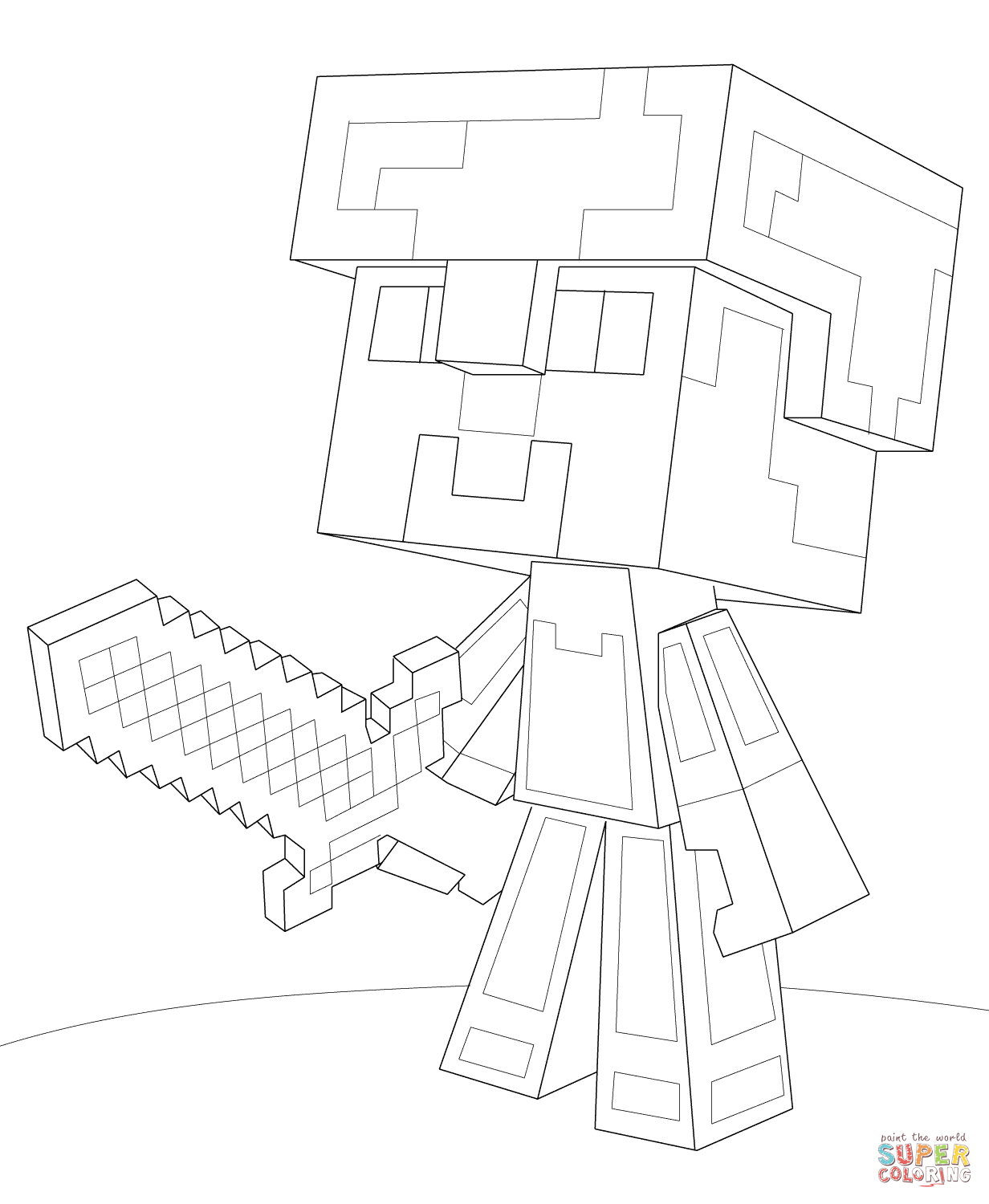 Minecraft Steve Diamond Armor From Minecraft Coloring Page Free