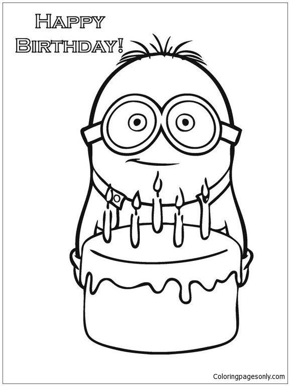 Happy Birthday Minion Coloring Page Free Coloring Pages Online