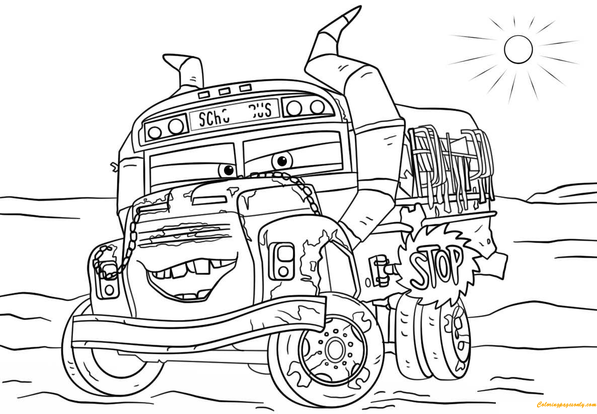 Miss Fritter From Cars 3 Disney Coloring Page Free Coloring