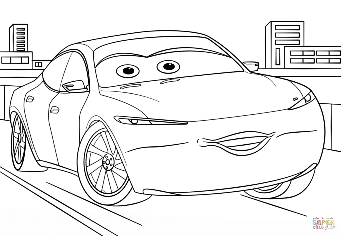 Natalie Certain From Cars 3 From Disney Cars Coloring Page Free