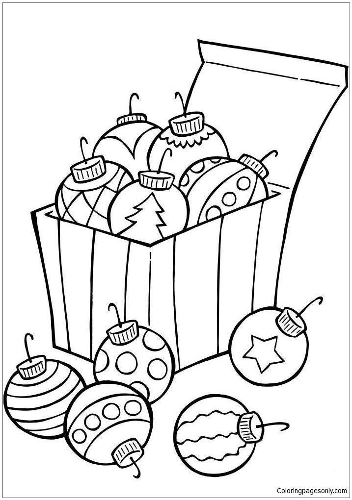 Ornaments For Christmas Tree Coloring Page Free Coloring