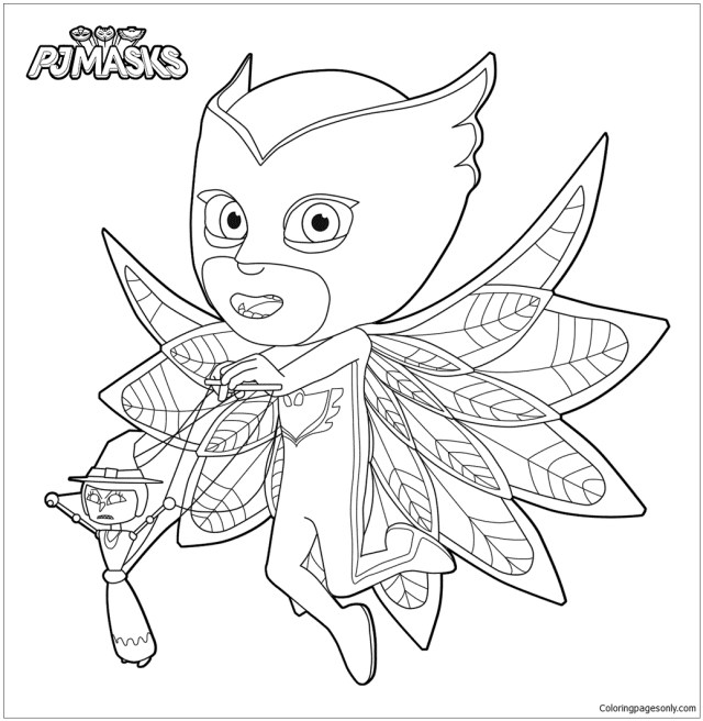Owlette With Her Puppet Coloring Pages - PJ masks Coloring Pages