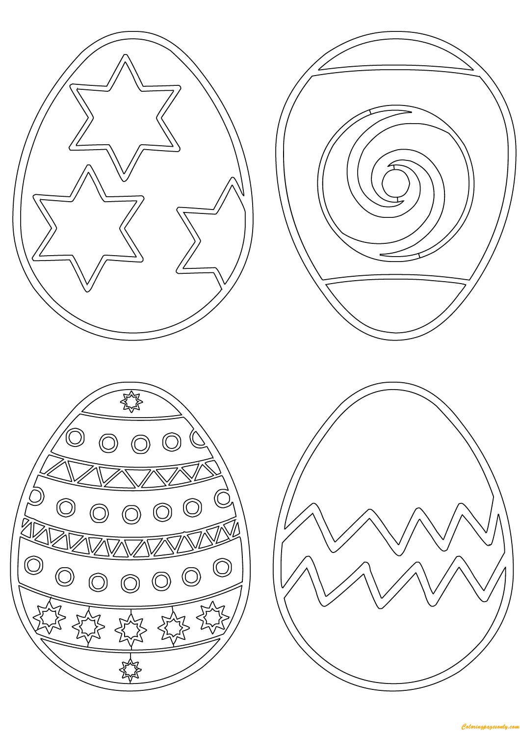 Patterns On Easter Eggs Coloring Page