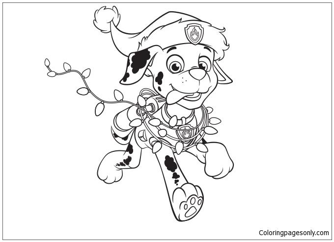 Paw Patrol Marshall Christmas Coloring Page Free