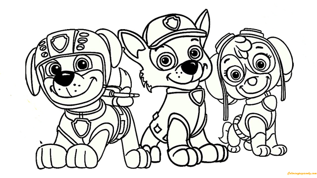 Paw Patrol Rocky, Skye And Zuma Coloring Pages - Cartoons Coloring