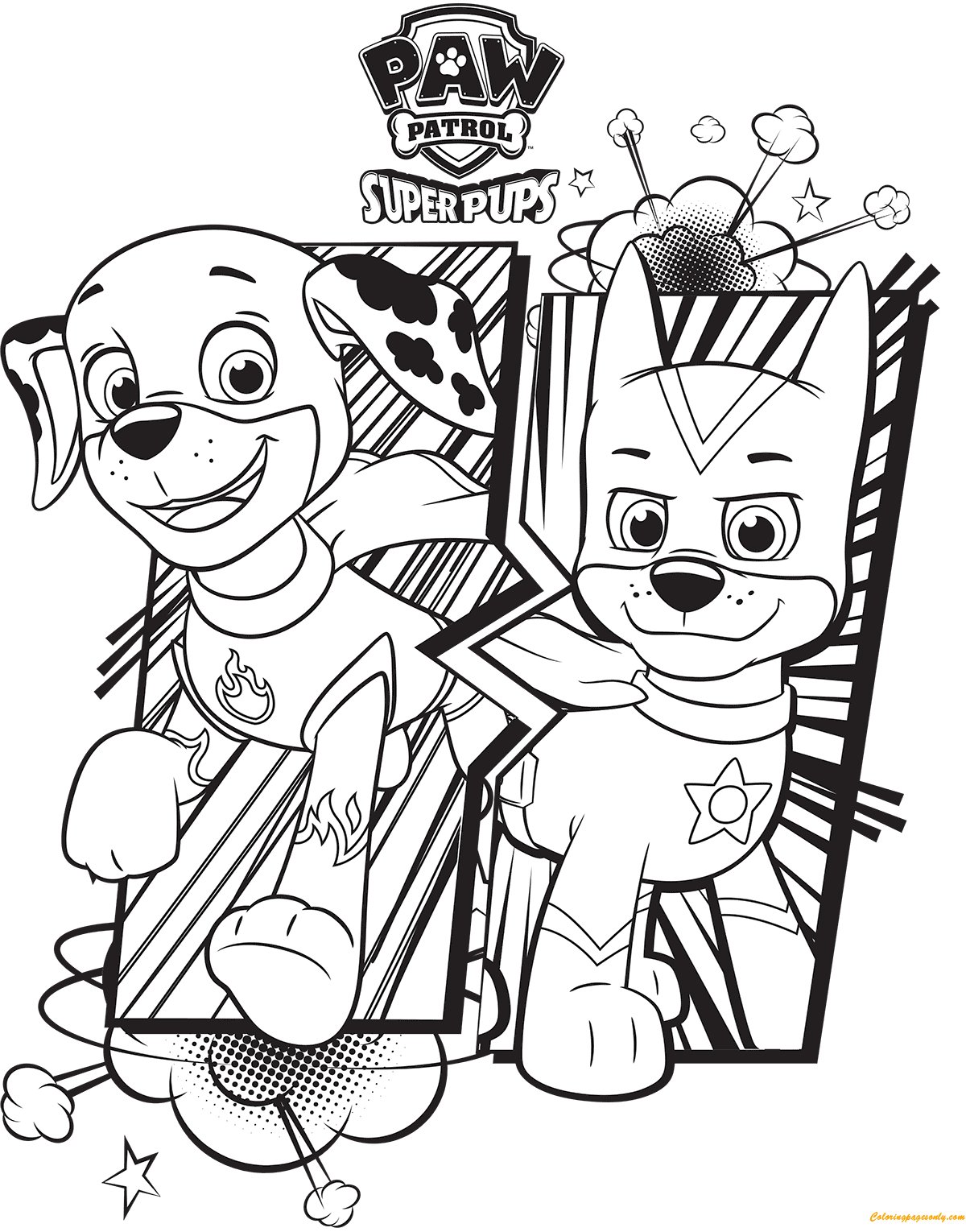 Paw Patrol Super Pups Chase And Marshall Coloring Page Free