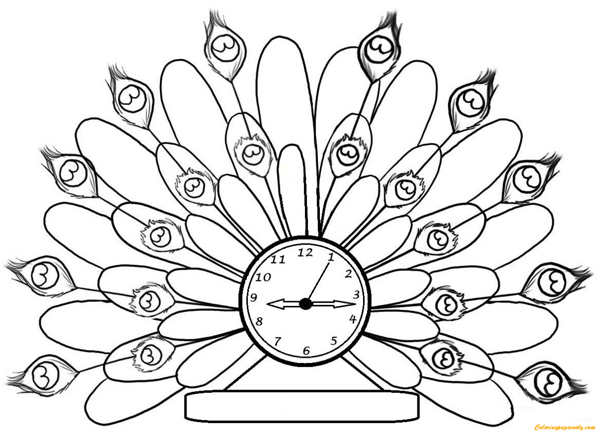 Peacock Clock Coloring Page