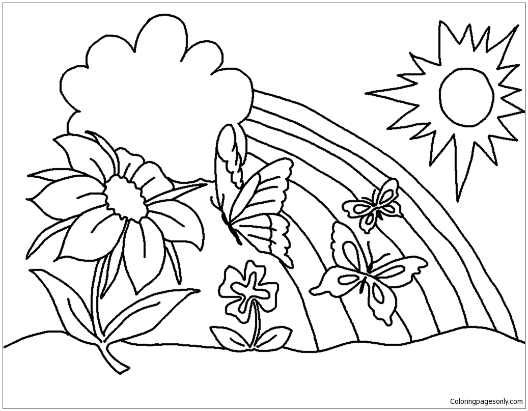 Spring With Butterfly Flower And Rainbow Coloring Page
