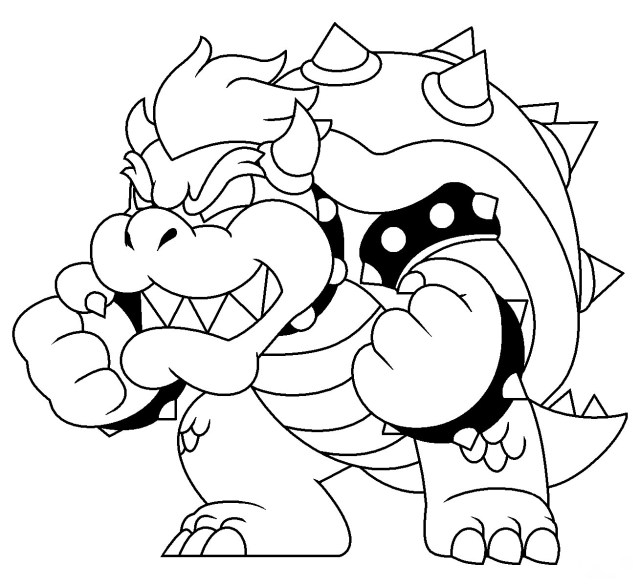 Strength of Bowser in Super Mario 9D World Coloring Pages - Super
