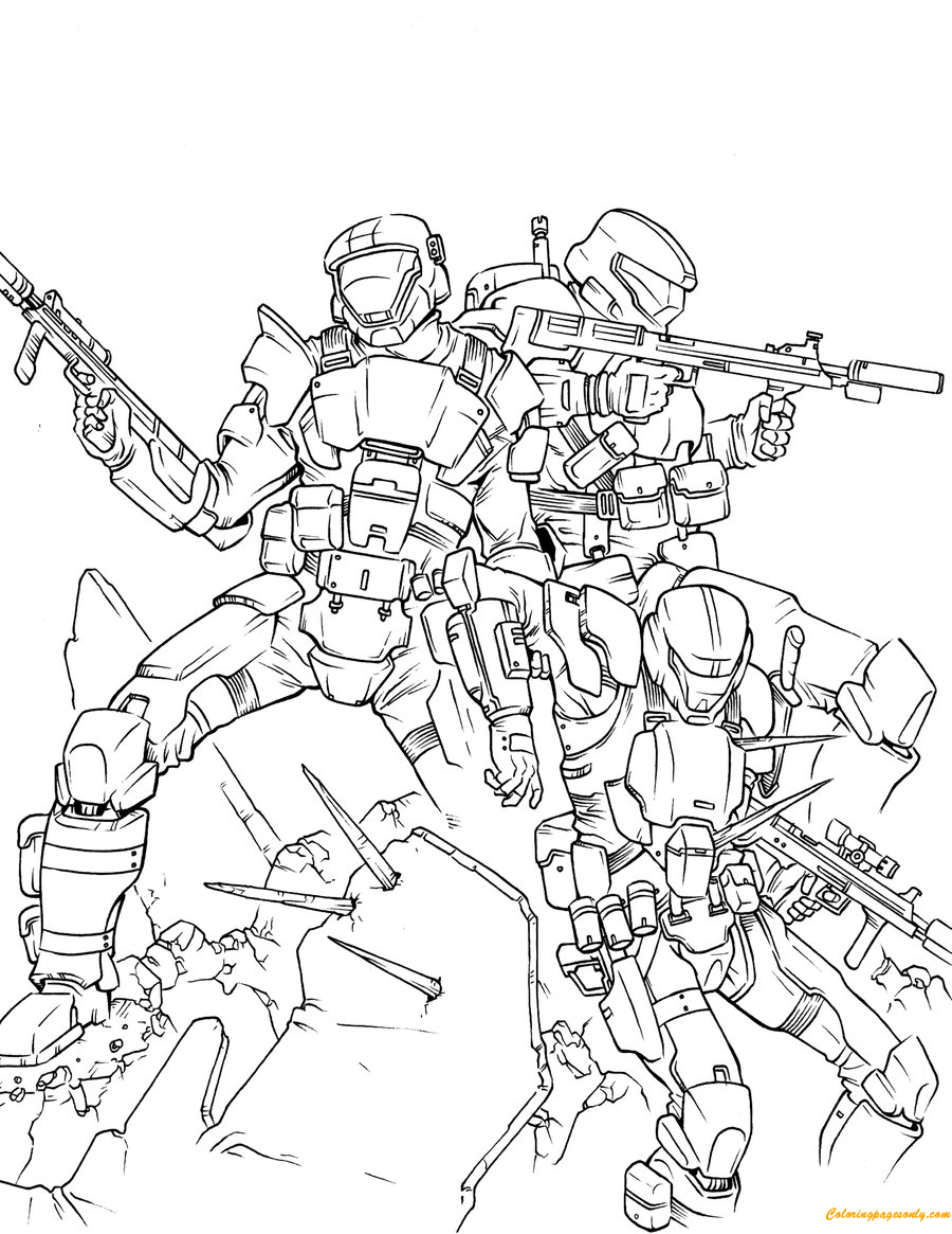 Team Of Halo Odst Coloring Page Free Coloring Pages Online