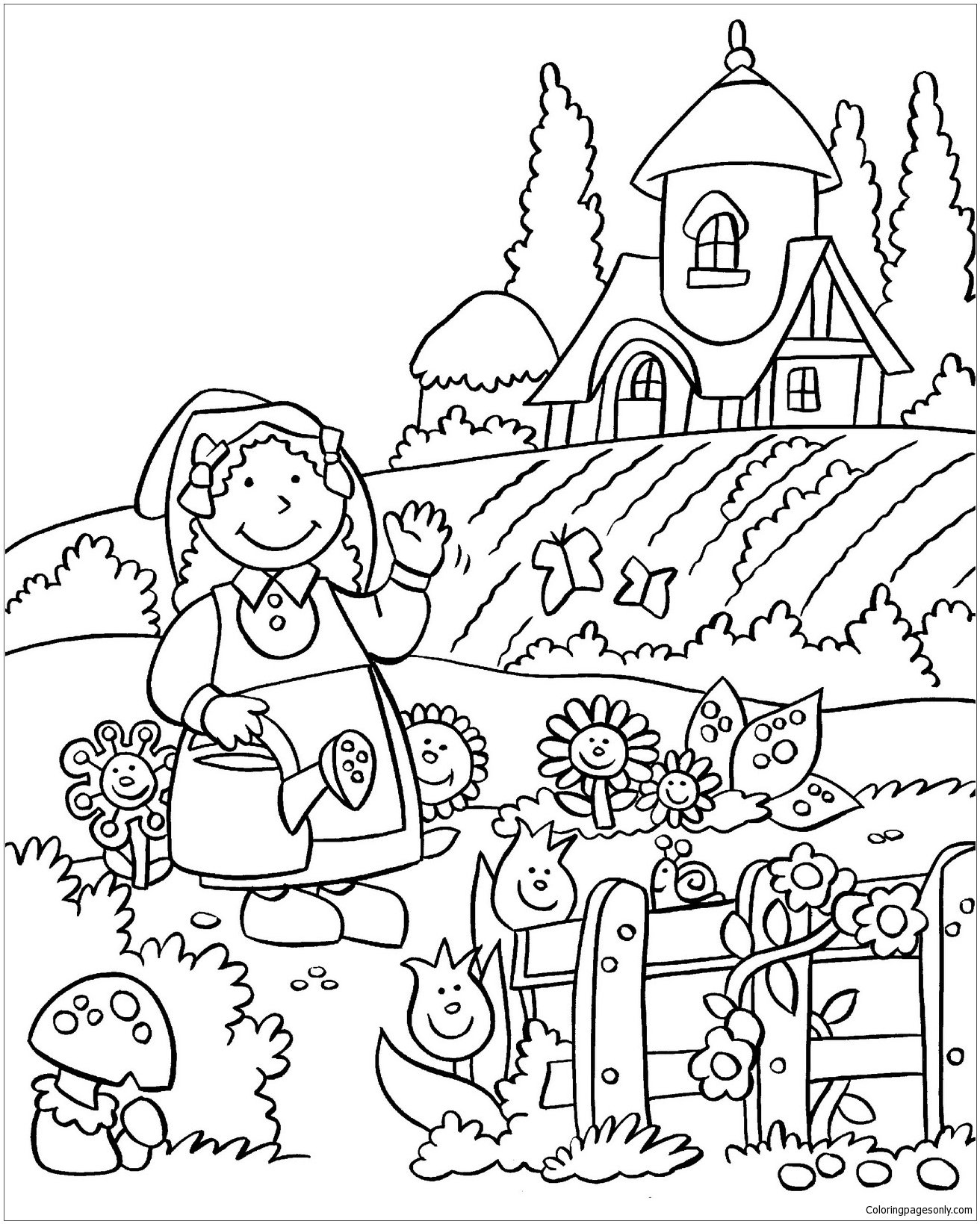The Beautiful Flower Garden Coloring Page Free Coloring Pages Online