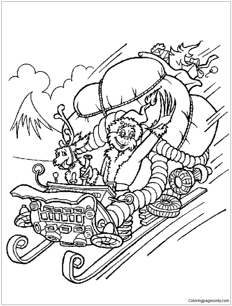 The Grinch Steals Christmas Gifts Coloring Page Free Coloring