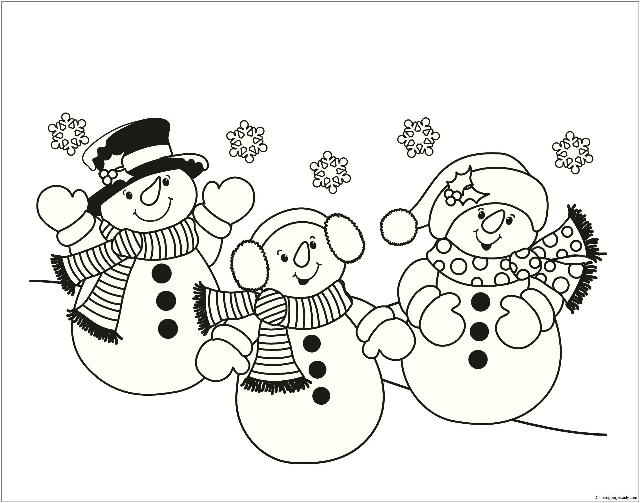 Three Snowmen Coloring Page