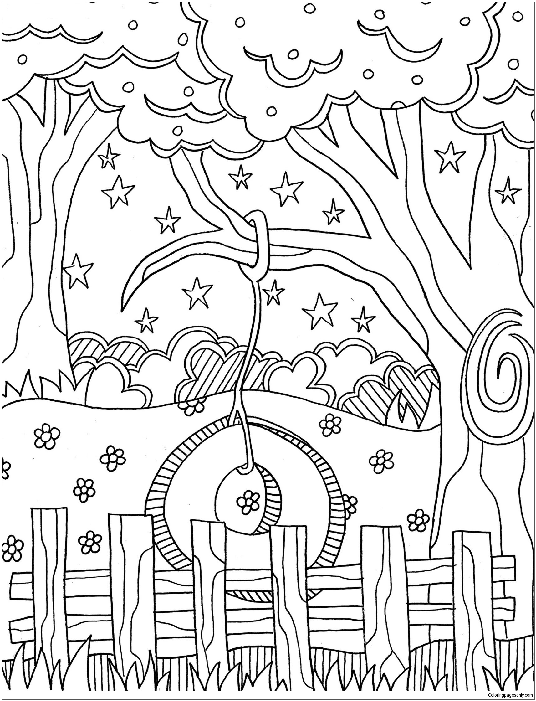 Tire Swing Coloring Page