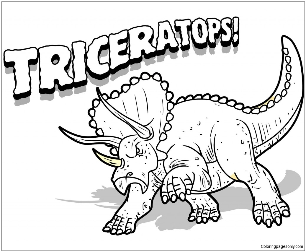 Triceratops Dinosaur 8 Coloring Page Free Coloring Pages