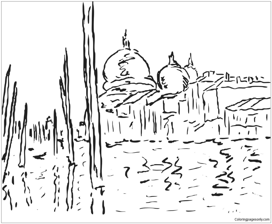 Venice By Claude Monet Coloring Page