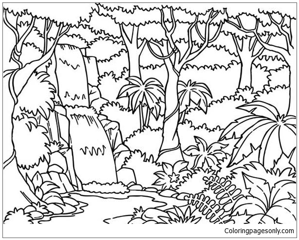 Waterfall In The Forest Coloring Page Free Coloring