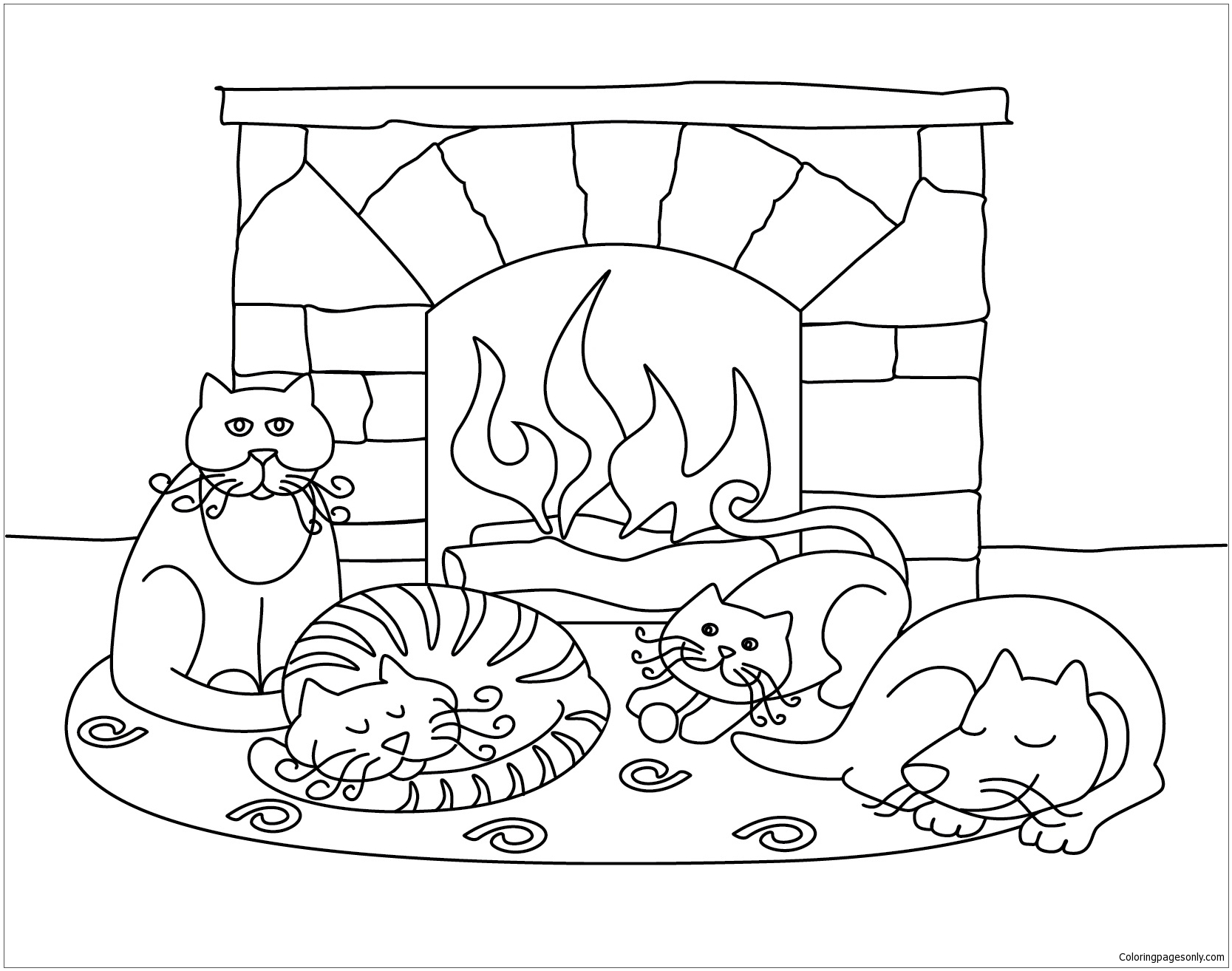 Winter Scenes With Cute Animals Coloring Page