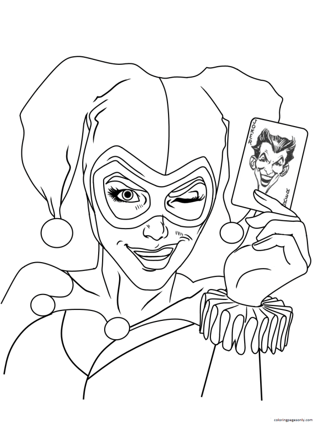 Harley Quinn Joker Card Dc Universe Coloring Pages - Harley Quinn