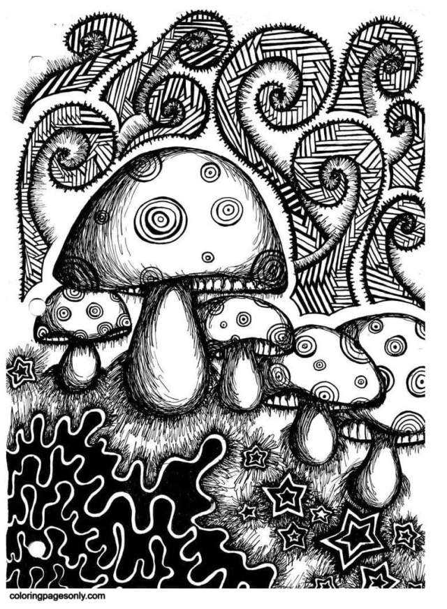 Trippy Mushrooms 28 Coloring Pages - Trippy Coloring Pages