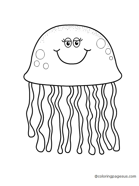 jelly fish coloring page drawing fill colors