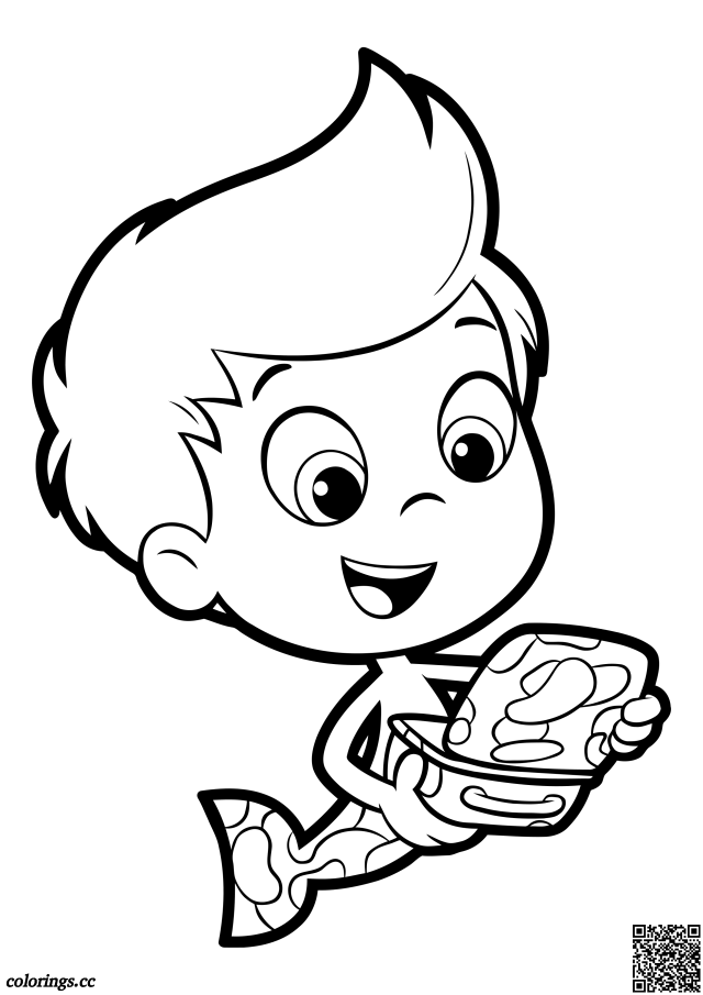 Gil with lunch box coloring pages, Guppies and bubbles coloring