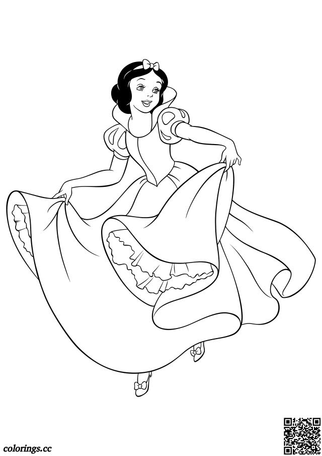 Danse blanche neige livre de coloriage, Princesses Disney livre de