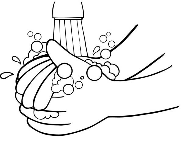 Washing Hand From Germs Coloring Page : Coloring Sky