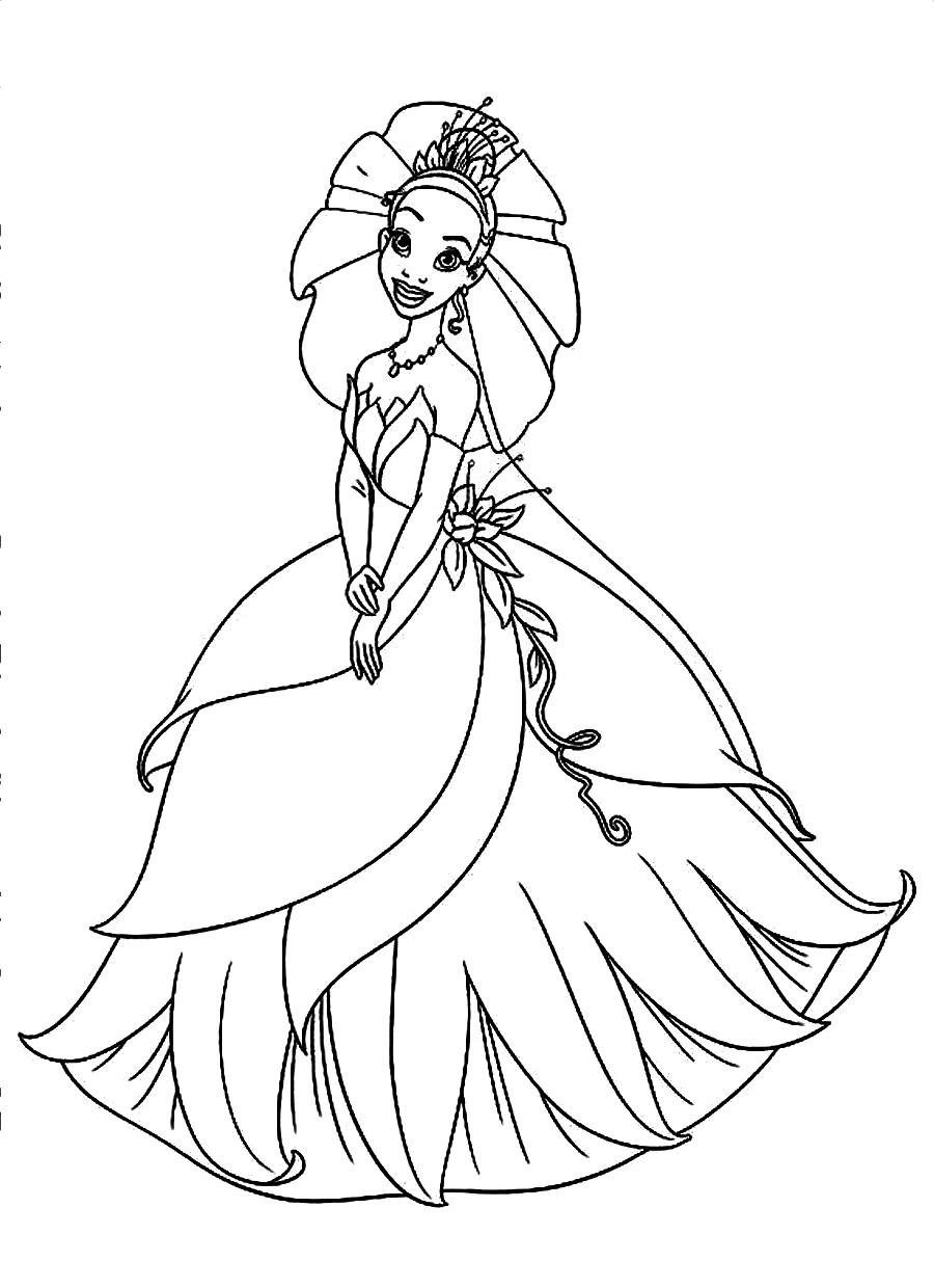 Tiana coloring pages to download and print for free | disney princess tiana printable coloring pages