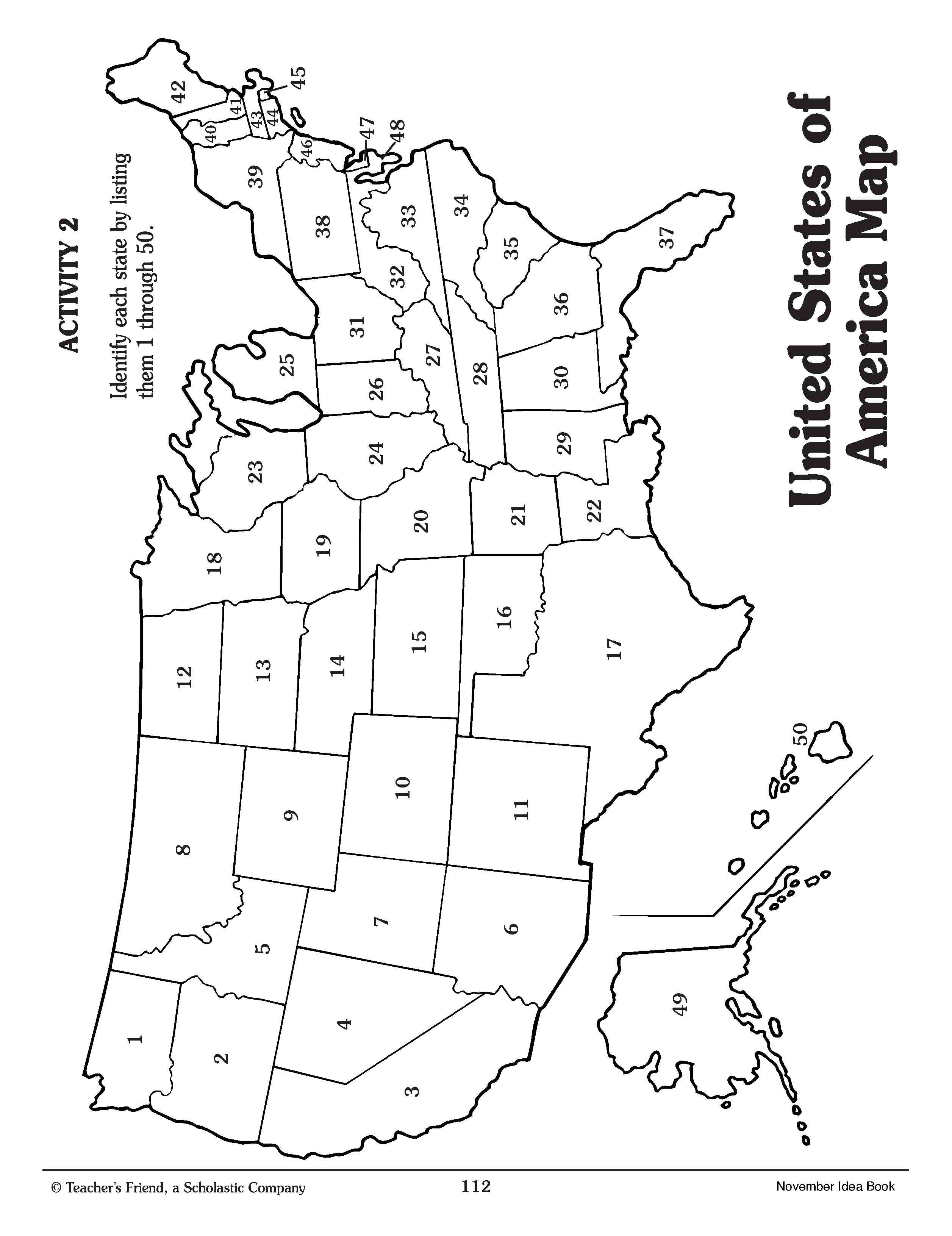 Numbered United States Map Worksheet