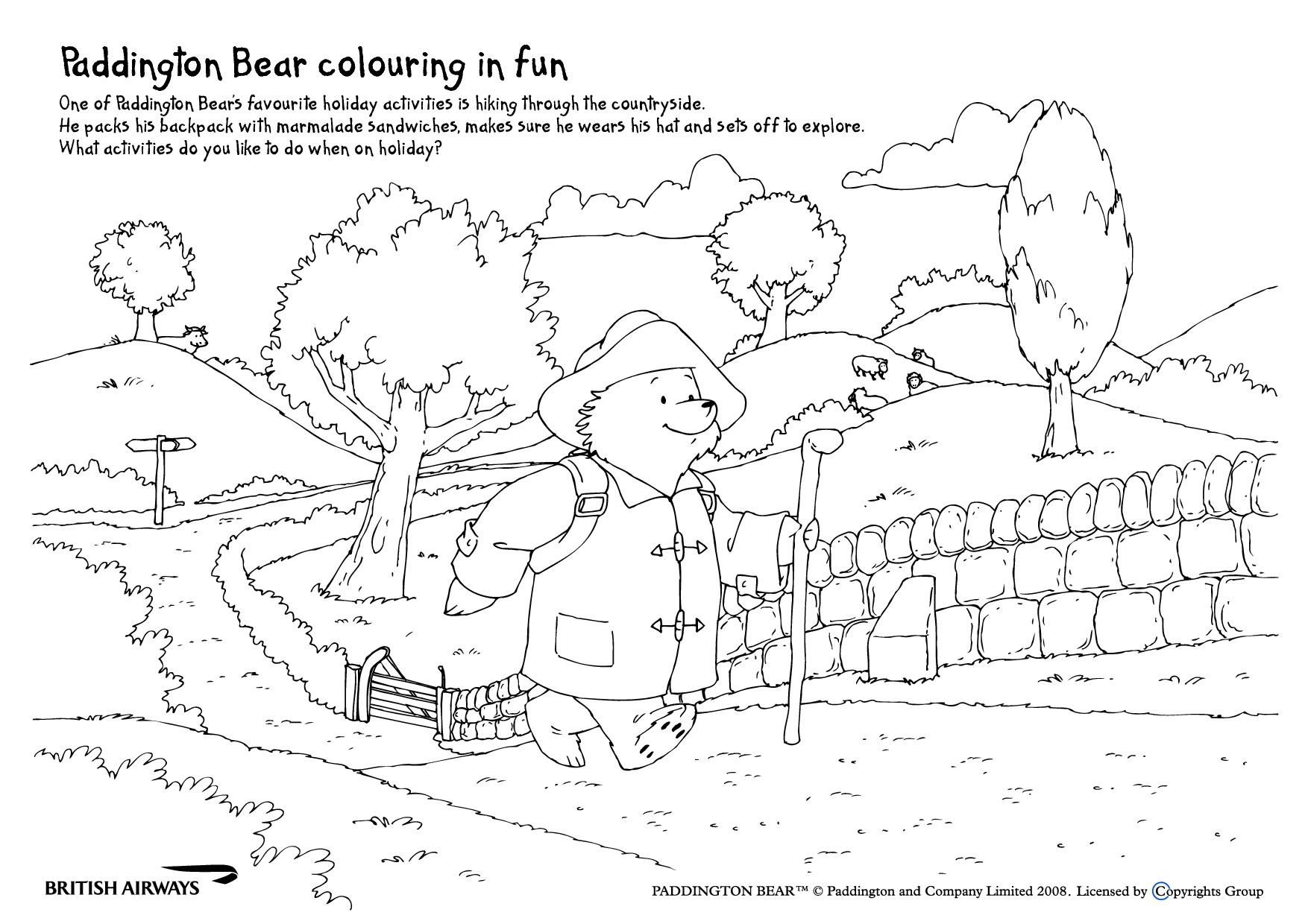 Paddington Bear Worksheet