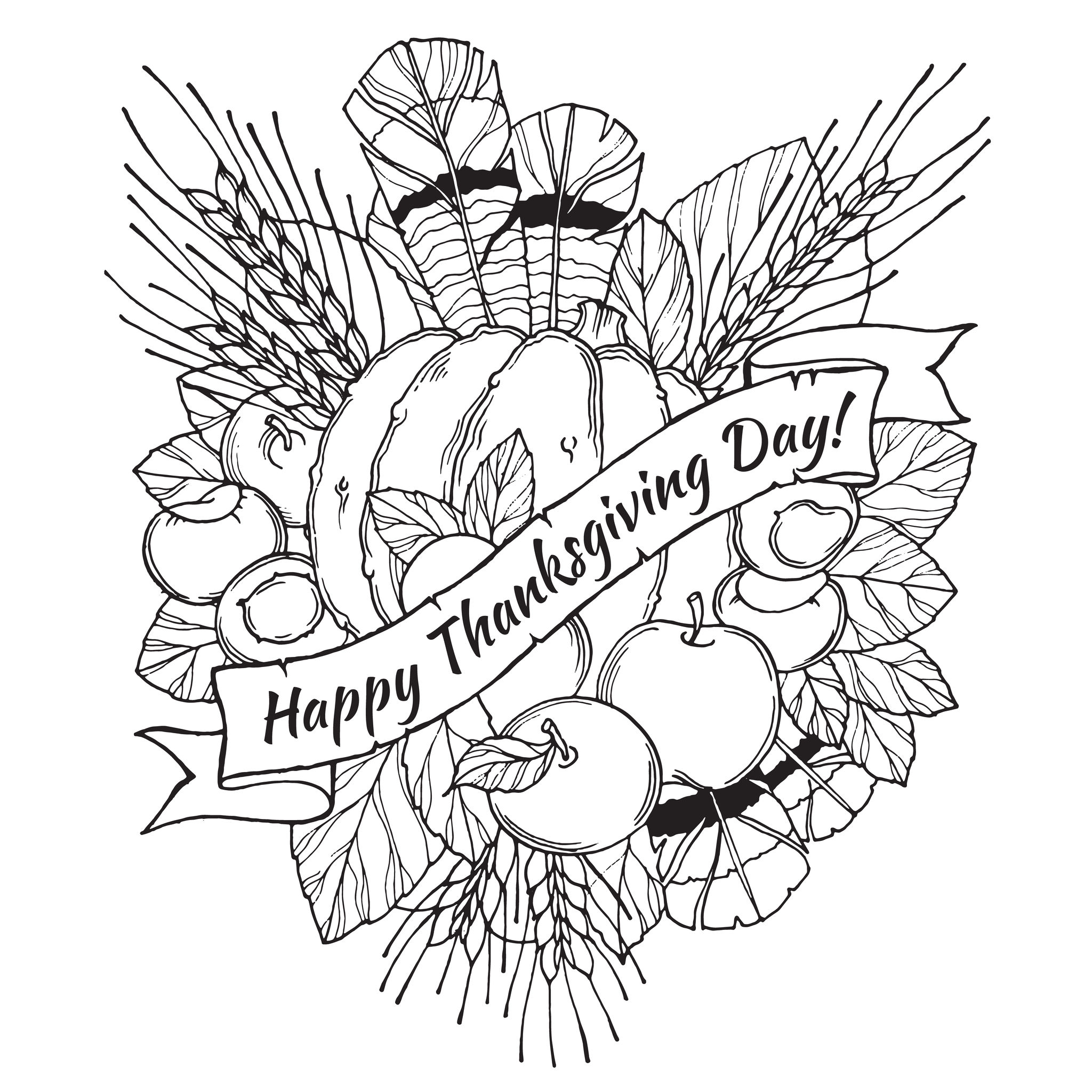 Thanksgiving Coloring Pages For Adults To Download And
