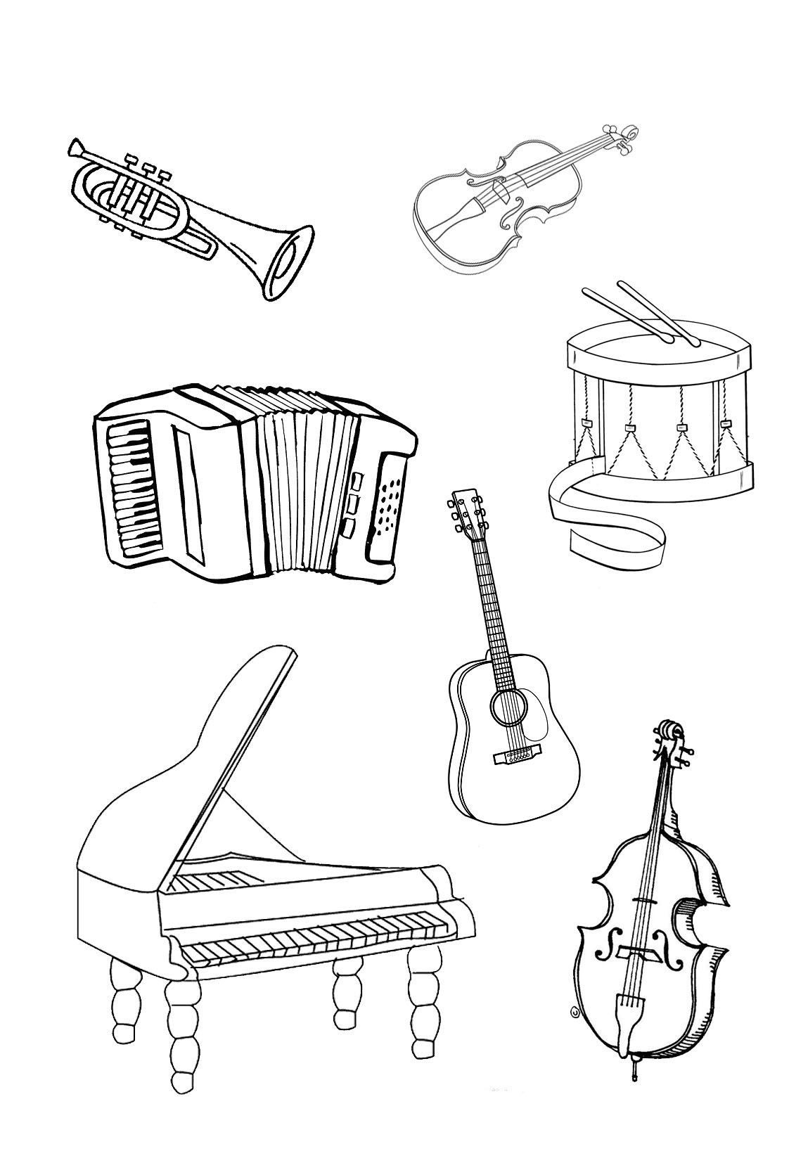 Musical Instruments Coloring Pages To Download And Print