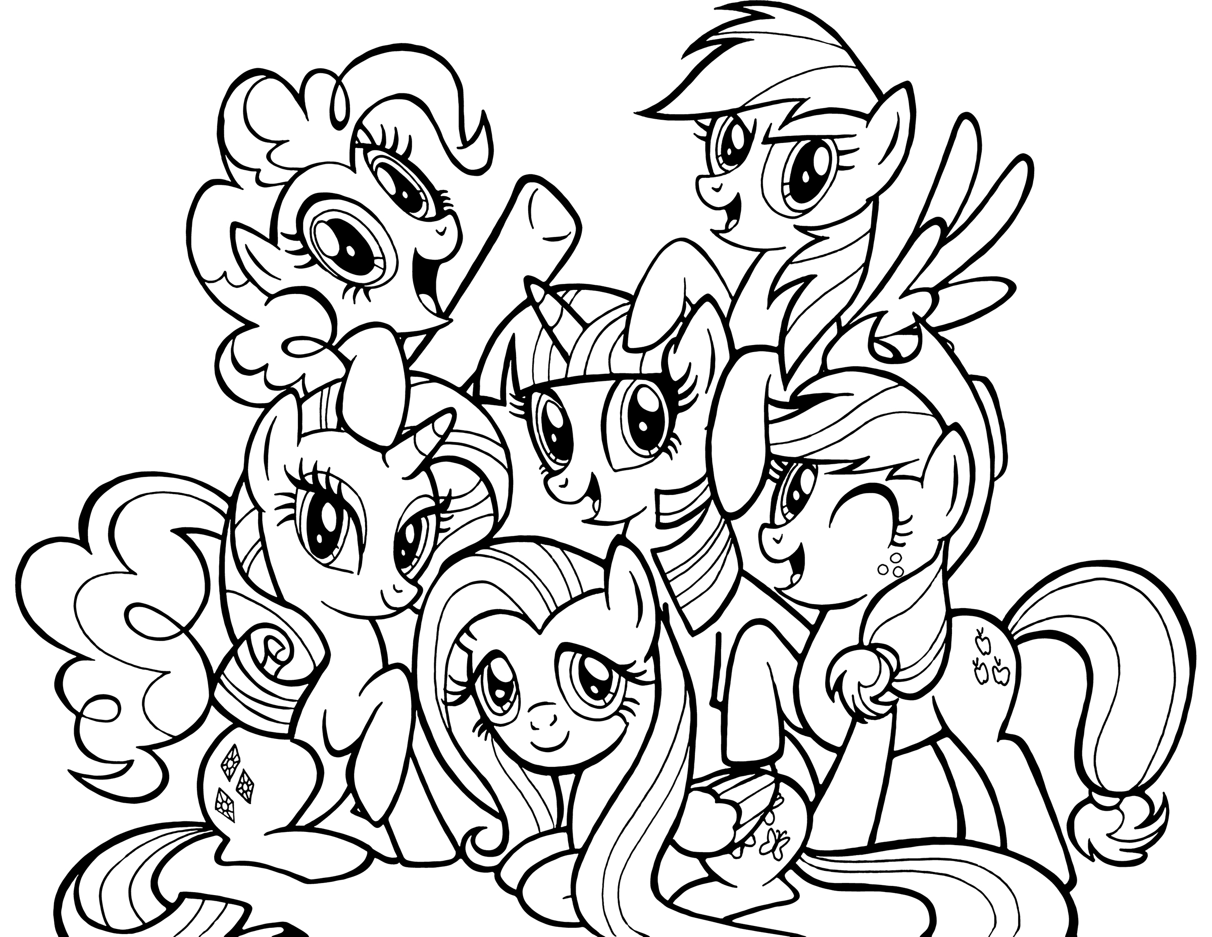 Ponies From Ponyville Coloring Pages Free Printable
