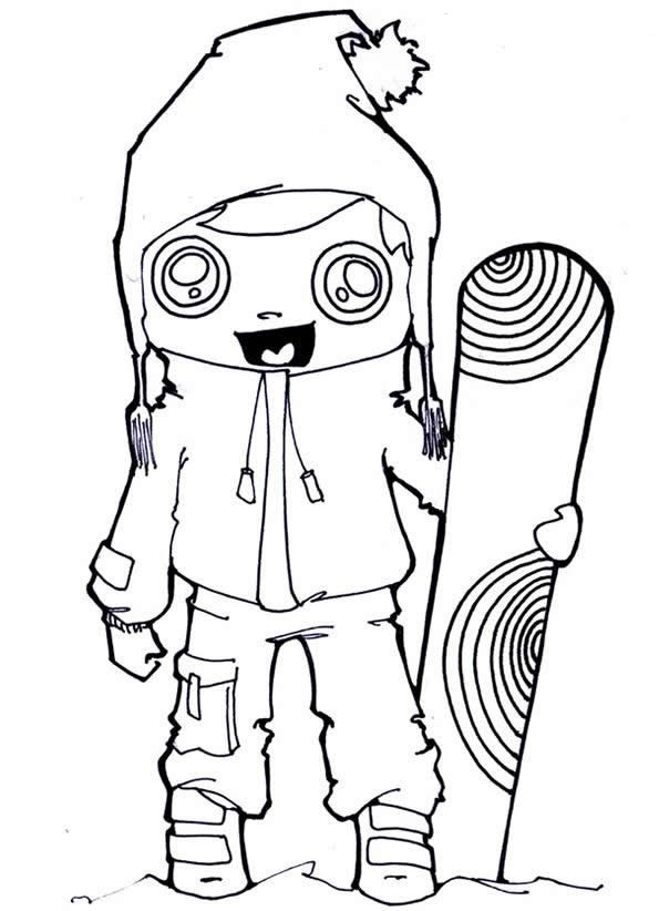 Snowboarding Coloring Pages For Childrens Printable For Free