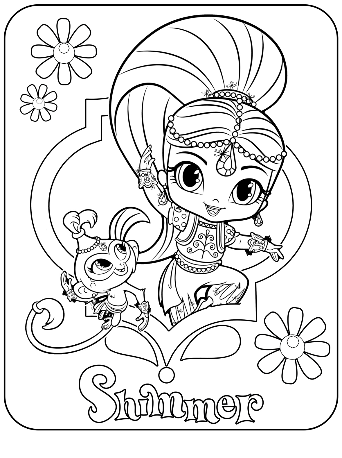 Nick Jr Coloring Pages Shimmer And Shine