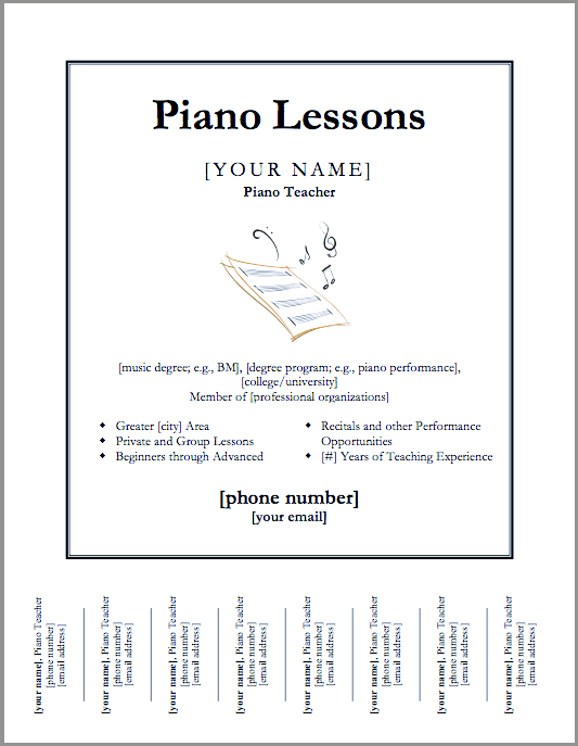 Just Added Piano Lessons Flyer Template Color In My Piano - Teacher brochure template