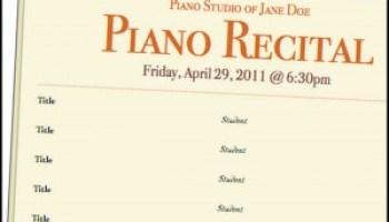 music recital program template